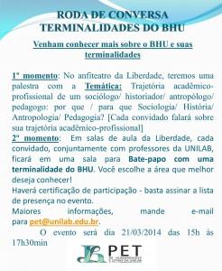 RODA DE CONVERSA TERMINALIDADES DO BHU